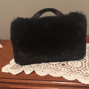 Black fur handbag by Marlo